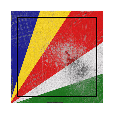 3d rendering of an old Seychelles flag in a concrete square