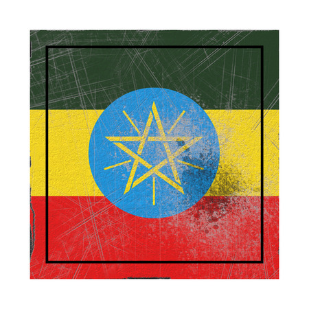 3d rendering of an old Ethiopia flag in a concrete square