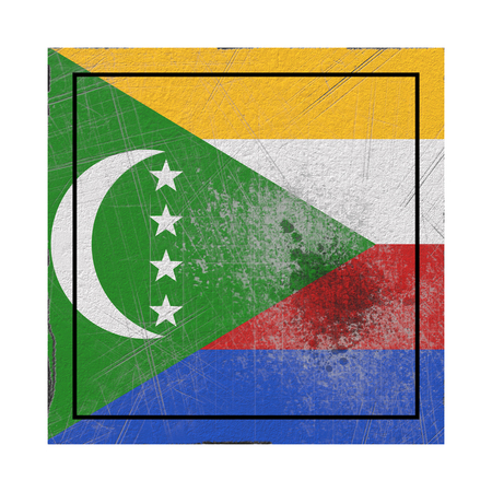 3d rendering of an old Comoros flag in a concrete square