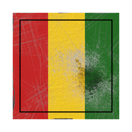 3d rendering of an old Guinea flag in a concrete square