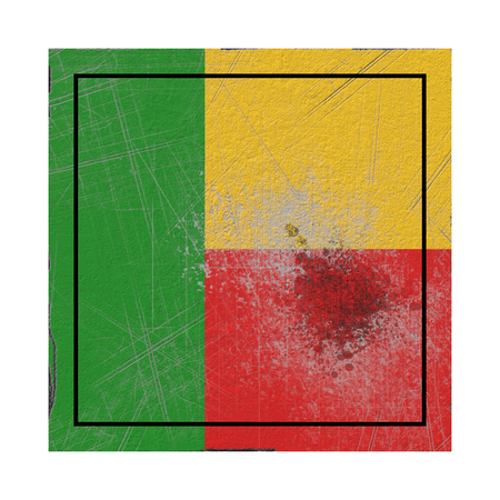 3d rendering of an old Benin flag in a concrete square