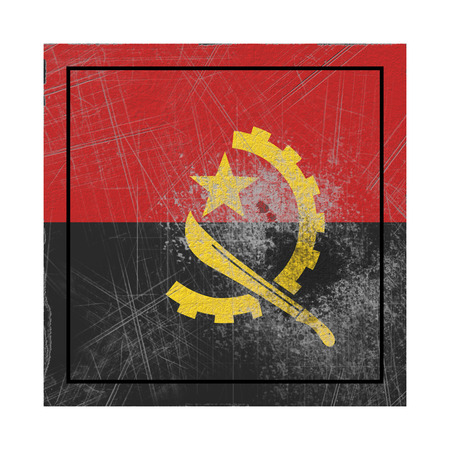 3d rendering of an old Angola flag in a concrete square Stock Photo