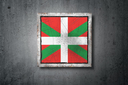 3d rendering of a Basque Country spanish community flag in a concrete wall