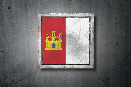 3d rendering of a Castilla La Mancha spanish community flag in a concrete wall