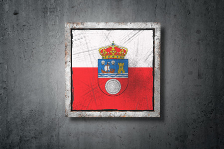 3d rendering of a Cantabria spanish community flag in a concrete wall