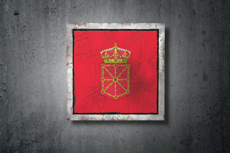 3d rendering of a Navarra spanish community flag in a concrete wall