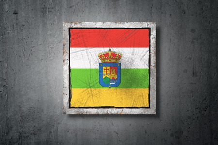 3d rendering of a La Rioja spanish community flag in a concrete wall