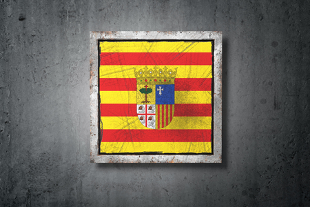 3d rendering of an Aragon spanish community flag in a concrete wall