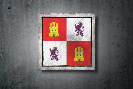 3d rendering of a Castilla Leon spanish community flag in a concrete wall Stock Photo