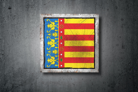 3d rendering of a Valencia spanish community flag in a concrete wall