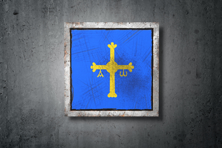 3d rendering of an Asturias spanish community flag in a concrete wall