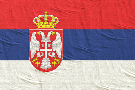 3d rendering of a Republic of Serbia flag Imagens