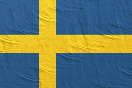 3d rendering of a Kingdom of Sweden flag Banco de Imagens