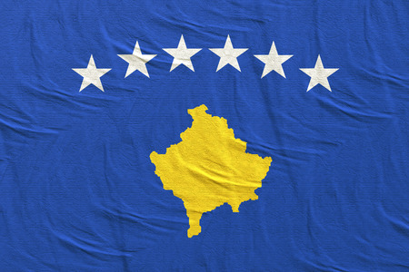 3d rendering of a Republic of Kosovo flag Stock Photo