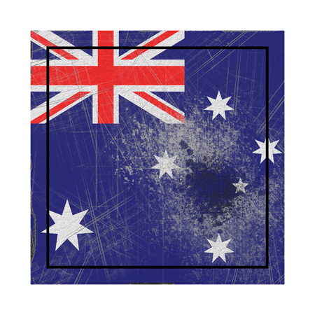 3d rendering of an Australia  flag over a rusty metallic plate. Isolated on white background.
