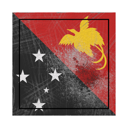 3d rendering of a Papua New Guinea  flag over a rusty metallic plate. Isolated on white background.