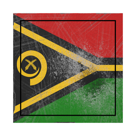 3d rendering of a Vanuatu  flag over a rusty metallic plate. Isolated on white background. Stock Photo