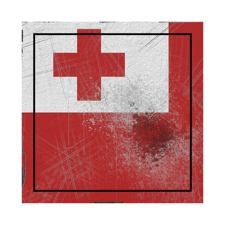 3d rendering of a Tonga  flag over a rusty metallic plate. Isolated on white background.
