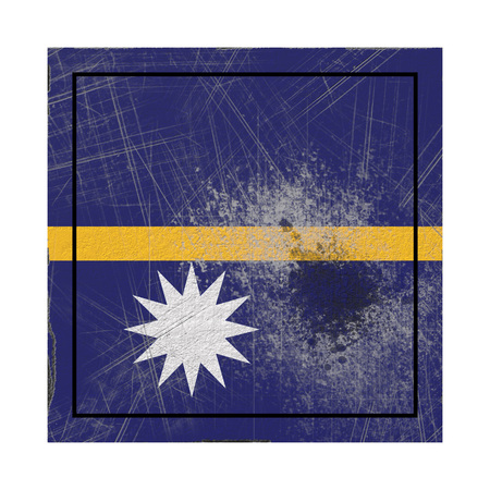 3d rendering of a Nauru  flag over a rusty metallic plate. Isolated on white background.