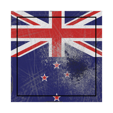 3d rendering of a New Zealand  flag over a rusty metallic plate. Isolated on white background.