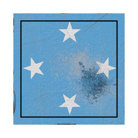 3d rendering of a Micronesia  flag over a rusty metallic plate. Isolated on white background.