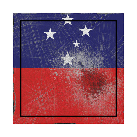 3d rendering of a Samoa  flag over a rusty metallic plate. Isolated on white background.