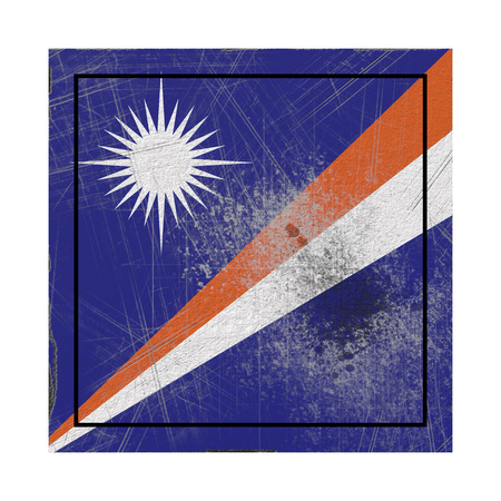 3d rendering of a Marshall Islands  flag over a rusty metallic plate. Isolated on white background.
