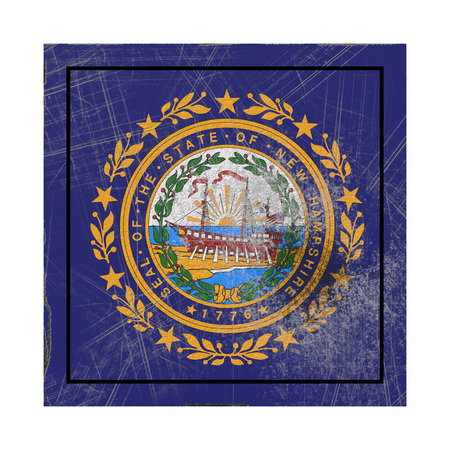 3d rendering of a New Hampshire State flag on a rusty surface