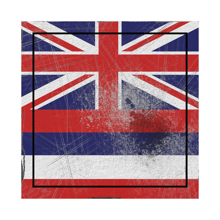 3d rendering of a Hawaii State flag on a rusty surface