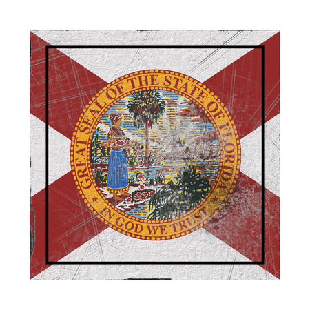 3d rendering of a Florida State flag on a rusty surface