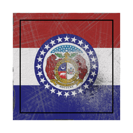 3d rendering of a Missouri State flag on a rusty surface