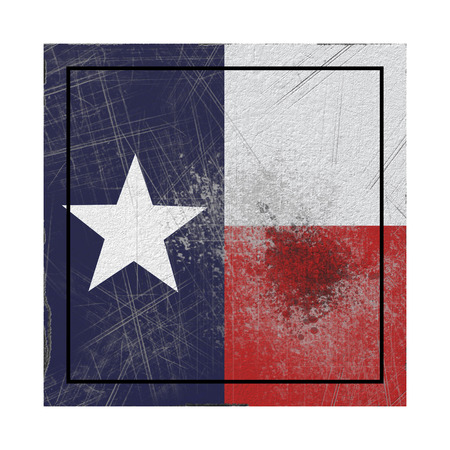 3d rendering of a Texas State flag on a rusty surface