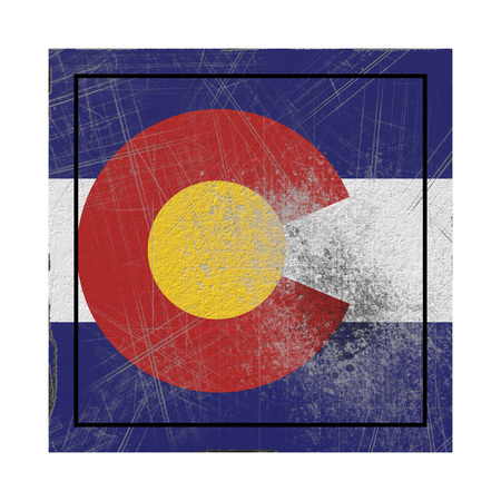 3d rendering of a Colorado State flag on a rusty surface