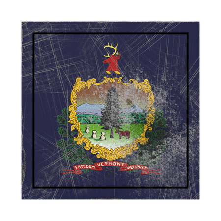 3d rendering of a Vermont State flag on a rusty surface