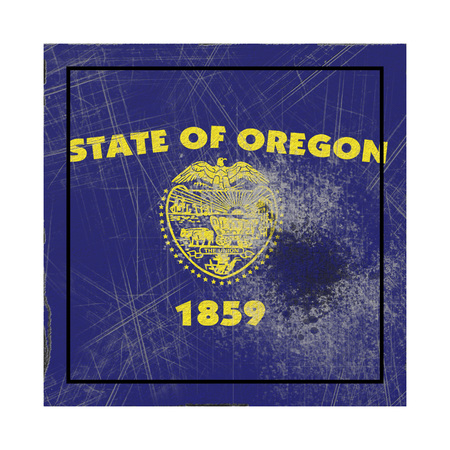 3d rendering of an Oregon State flag on a rusty surface
