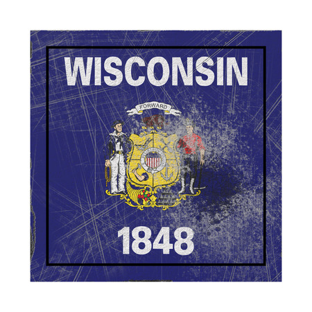 3d rendering of a Wisconsin State flag on a rusty surface