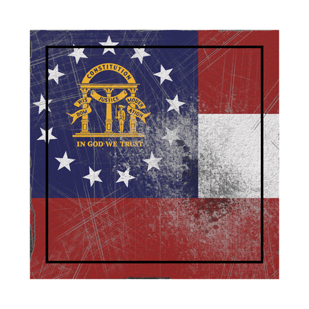 3d rendering of a Georgia State flag on a rusty surface