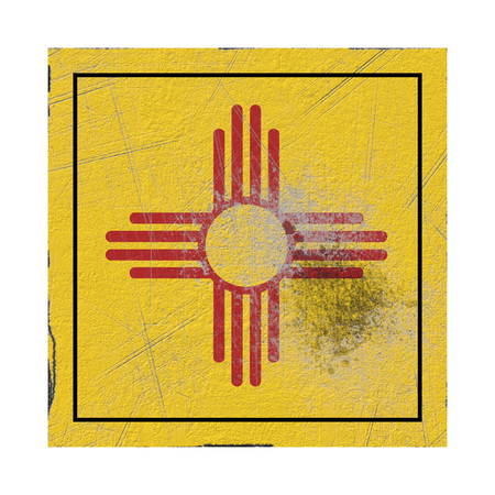3d rendering of a New Mexico State flag on a rusty surface