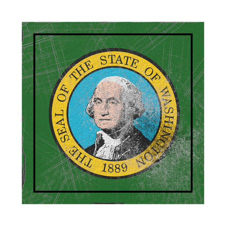 3d rendering of a Washington State flag on a rusty surface Stock Photo