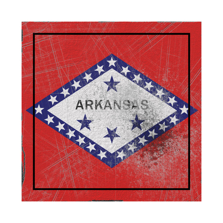 3d rendering of an Arkansas State flag on a rusty surface