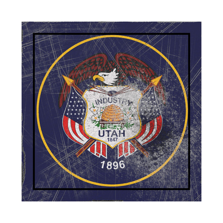 3d rendering of an Utah State flag on a rusty surface