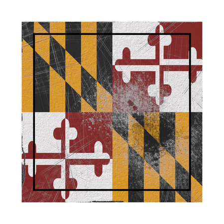 3d rendering of a Maryland State flag on a rusty surface Stock Photo - 121006807