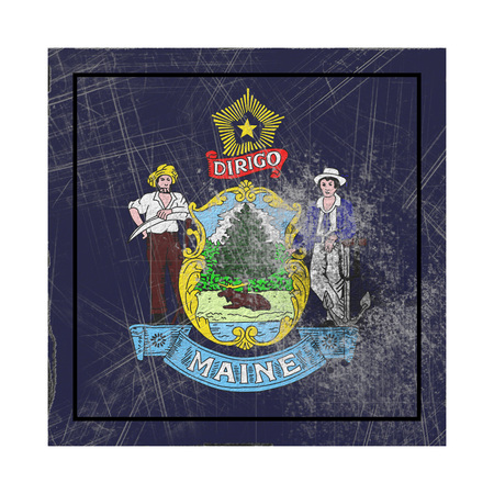 3d rendering of a Maine State flag on a rusty surface Stock Photo - 121006808