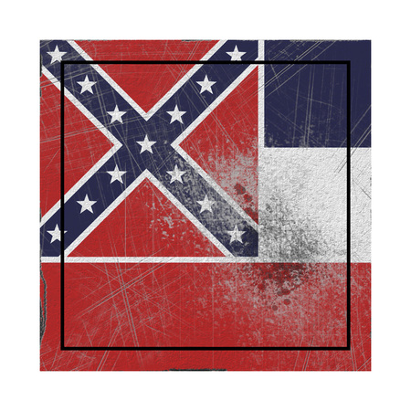 3d rendering of a Mississippi State flag on a rusty surface