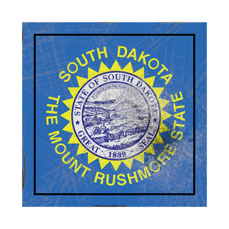 3d rendering of a South Dakota State flag on a rusty surface