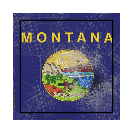 3d rendering of a Montana State flag on a rusty surface