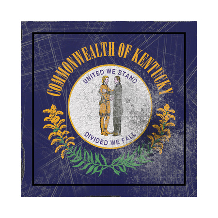 3d rendering of a Kentucky State flag on a rusty surface Stock Photo