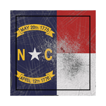 3d rendering of a North Carolina State flag on a rusty surface