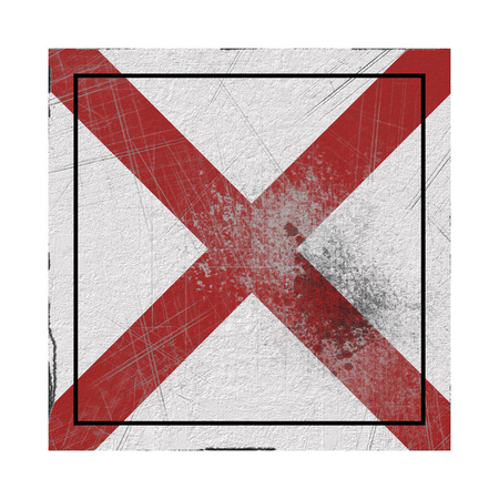 3d rendering of an Alabama State flag on a rusty surface Stock Photo