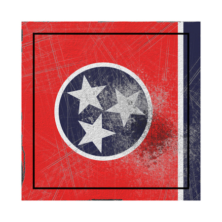 3d rendering of a Tennessee State flag on a rusty surface